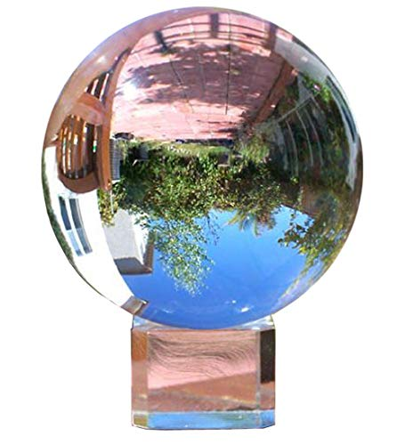 Amlong Crystal Clear Meditation K9 Crystal Ball 3.25 inch (80mm) for Photography, Lensball With Free Stand