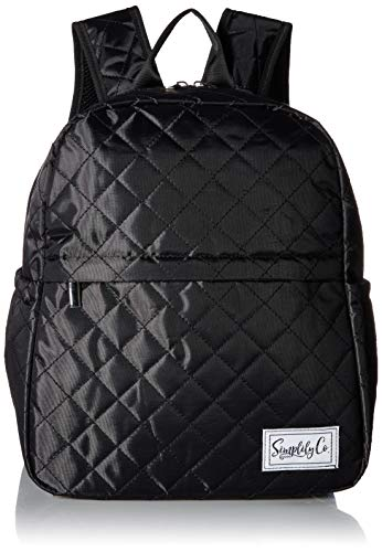 Beverage Pocket - Insulated Mini Backpack Lunch Bag w/Padded Straps & Drink Side Pockets (Black Quilted)
