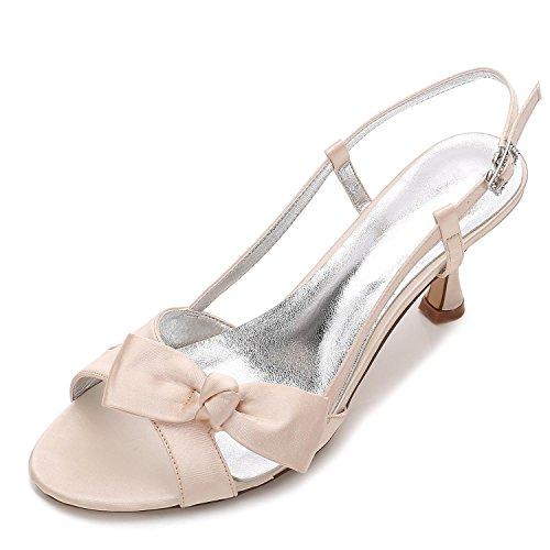 L@YC Mujeres Peep Toe E17061-19 Cintas Satén Bajo Tacones de Dama de Honor Zapatos de Novia de La Boda Champagne