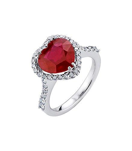 Gioielli di Valenza Anello in oro bianco 18k con rubino a cuore e diamanti  , 8
