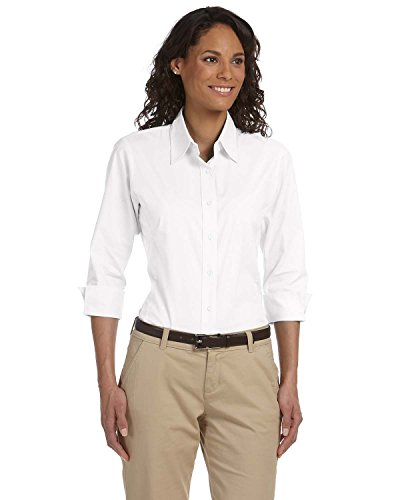 (Devon & Jones Ladies 3/4 Sleeve Stretch Poplin Blouse, Large, White)