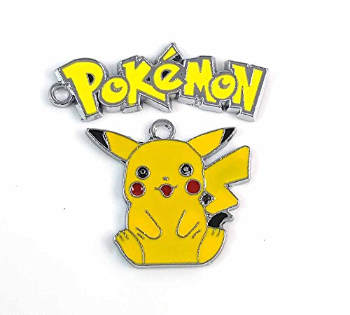 2pc Pokemon Go Yellow Pikachu Character & Words Jewelry Making Necklace Charms (Pikachu- A)
