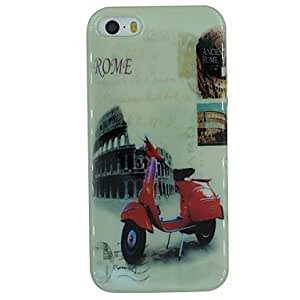 DUR Ancient Rome And Motorcycle Pattern TPU Material Soft Back Cover Case for iPhone 5/5S