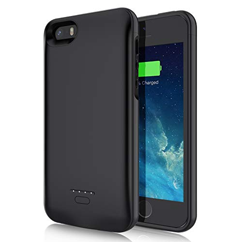 Battery Case for iPhone 5 5S SE,JUBOTY 4000mAh Slim Protective Charging Case Compatible with iPhone 5 5S S Power Bank Rechargeable Battery Charger Case