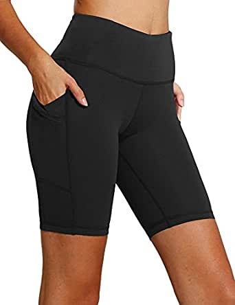 FIRM ABS Active Long Shorts Women's Workout Bike Running Shorts with Pockets Black XS