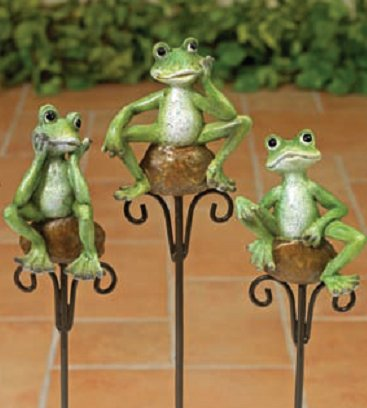 Set of 3 Cute Frogs on Stone Flower Garden Stake for Potted Plants or (Angel Plant Stake)