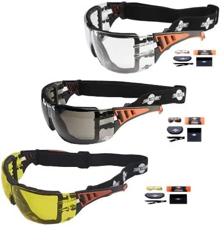 ToolFreak Rip Out Work and Sports Safety Glasses Clear, Smoke Yellow Tinted Mega Bundle Offer, Foam Padded, Impact and UV Protection