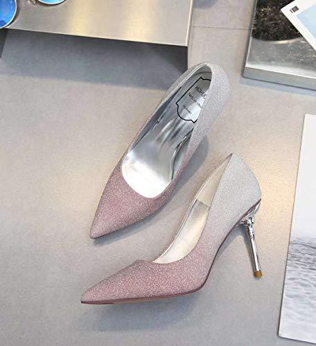 Alto zapatos Puntiagudas alto tacón De Mujer De Sandalias Pink Tacón de con Yukun Boda 0nqfd7Ww10