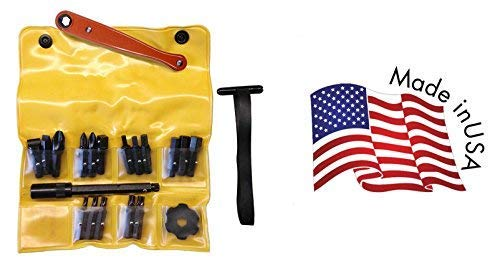 Chapman MFG 1903-H American Motorcycle Screwdriver Set - 21 Pieces - Includes Midget Ratchet, Extension, Socket, Spinner, Phillips, Slotted and Standard Allen Hex Bits, Star Bits - Made in the USA