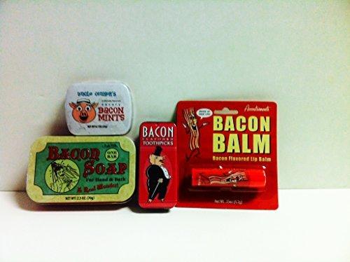 Bacon Grooming Kit (4pk)- Bacon Soap, Bacon Toothpicks, Bacon Mints, Bacon Lip Balm