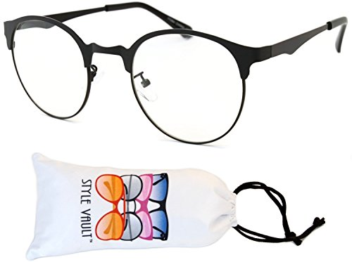E3048-vp Style Vault Panto Metal Eyeglasses (B3195F Mt.black-clear, (Metal Eyeglasses)
