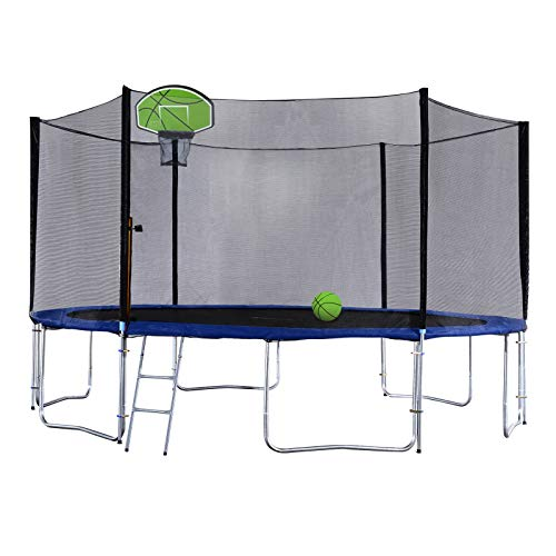 Exacme Trampoline with Safety Pad,Enclosure Net,Ladder and Green Basketball Hoop, High Weight Limit, T-Series