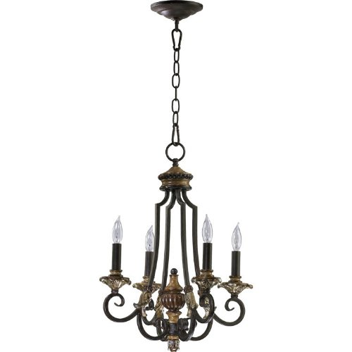 Quorum Capella 4 Light Up Chandelier in Toasted Sienna With Golden Fawn