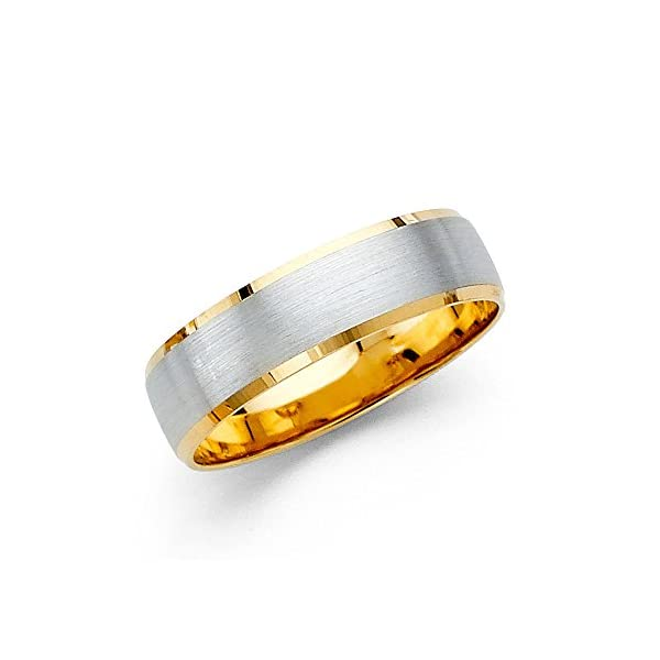 Wellingsale-14k-Two-2-Tone-White-and-Yellow-Gold-Polished-Satin-6MM-Beveled-Edge-Comfort-Fit-Wedding-Band-Ring