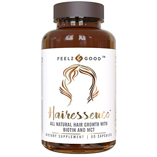 Vitamins Hair Follicles - HAIRESSENCE All Natural Hair Growth Biotin Vitamin Formula - Stronger Healthier Hair. Scientifically Formulated w/ MCT Vitamin B Copper & more - Supplement For All Hair Types - Veggie Capsules
