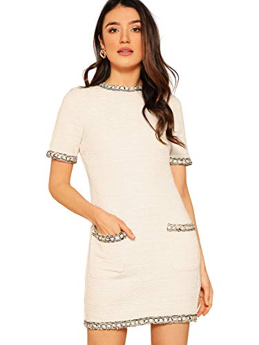 (Floerns Women's Tweed Short Sleeve Shift Tunic Dress with Pockets White)