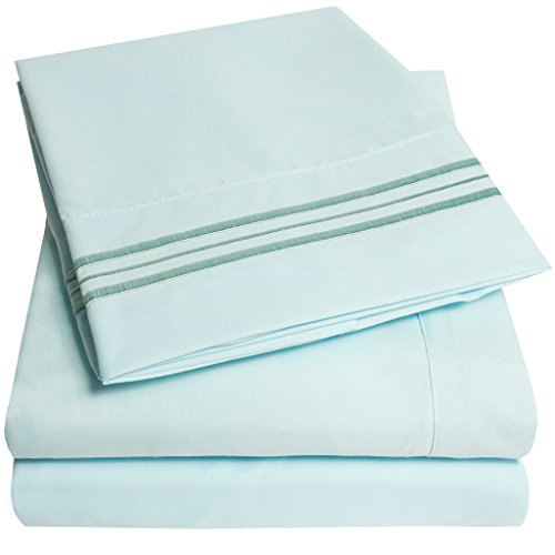1500 Supreme Collection Bed Sheets - PREMIUM QUALITY BED SHEET SET & LOWEST PRICE, SINCE 2012 - Deep Pocket Wrinkle Free Hypoallergenic Bedding - Over 40+ Colors & Prints- 4 Piece, King, Light Blue