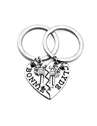 Thelma Louise Bonnie Clyde Letter Keychain Gold Silver Tone Heart Shape Puzzle Stitching Keyring Set