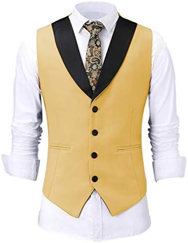 Mens Formal Shawl Lapel Suit Vest Solid Slim Fit Waistcoat for Wedding Groomsmen
