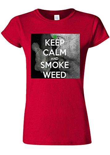 食料品店荒れ地パワーKep Calm And Smoke Weed High Novelty Cherry Red Women T Shirt Top-XL