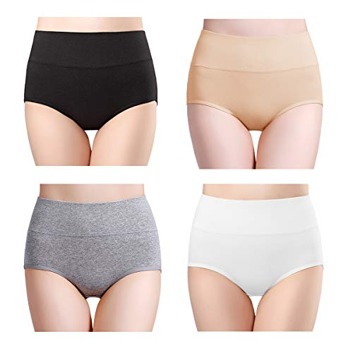 Bamboo Panties - wirarpa Women's Ultra Soft High Waisted Bamboo Modal Underwear Panties Thin Breathable Briefs 4 Pack Size XXL 9