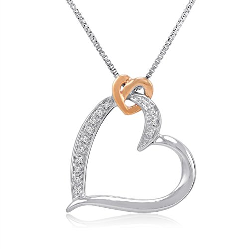 sterling-silver-and-14k-gold-diamond-heart-pendant-necklace-on-an-18inch-box-chain