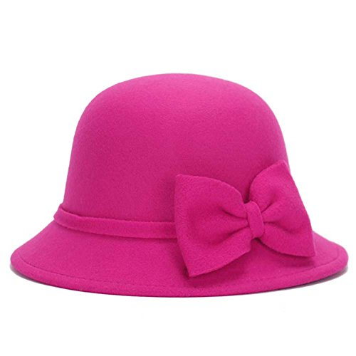 [MIOIM Women English Classic Style Felt Cloche Hat Flower Leaves Fedora Bowler Caps] (Pork Pie Hat For Sale)