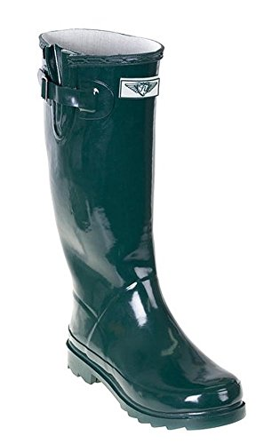 Forever Young Women Full Rubber Rain Boots, Forest Green, 11 US