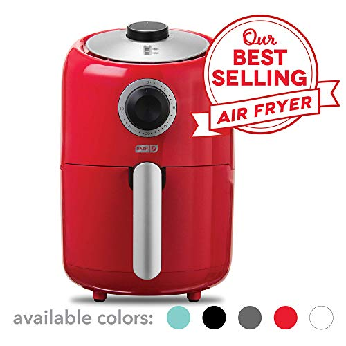 Dash Compact Air Fryer 1.2 L Electric Air Fryer Oven Cooker with Temperature Control, Non Stick Fry Basket, Recipe Guide + Auto Shut off Feature – Red (Renewed)