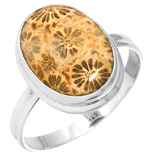 Natural Indonesian Fossil Coral Collectible Jewelry Solid 925 Sterling Silver Ring Size 10.5