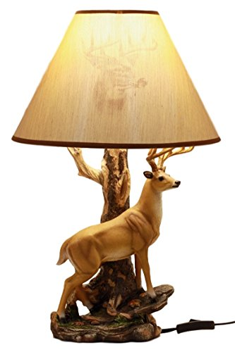 Ebros Gift Wildlife Nature 12 Point Whitetail Deer Buck Desktop Table Lamp With Nature Printed Shade Home Decor - Elk Antler Lamps