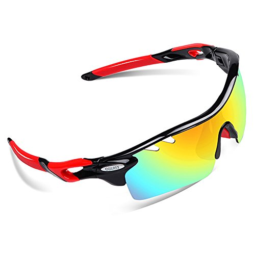 OBERLY S01 Polarized Sports Sunglasses with 4 Interchangeable Lenses for Men Women Cycling Baseball Golf Fishing Driving - Glasses Can Lenses Change My I In The