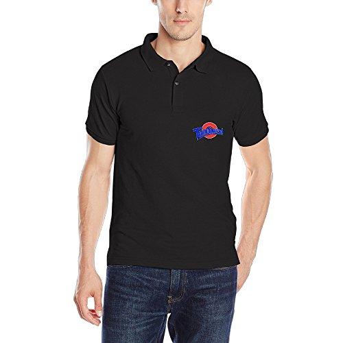 Space Jam Black Logo Cotton Polo T-shirt For Men - XXL