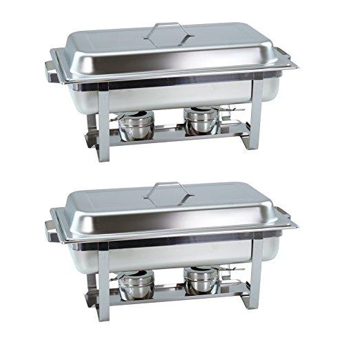 2er SET Chafing Dish mit 1/1 GN-Behälter 65mm tief stapelbarer Speisenwärmer mit eckigen Griffen Gastrovertriebskontor GmbH