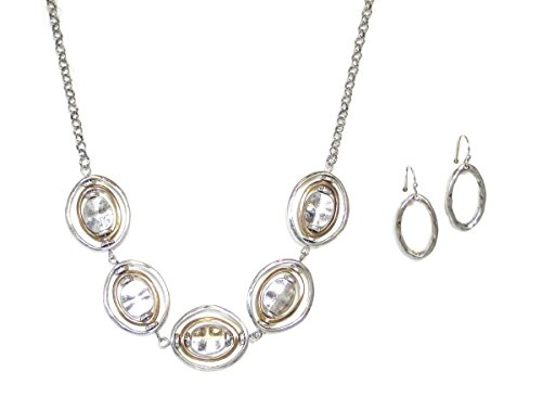 [Silvertone Oval Disk Geometric Necklace and Earrings Set] (1800s Dresses Costumes)
