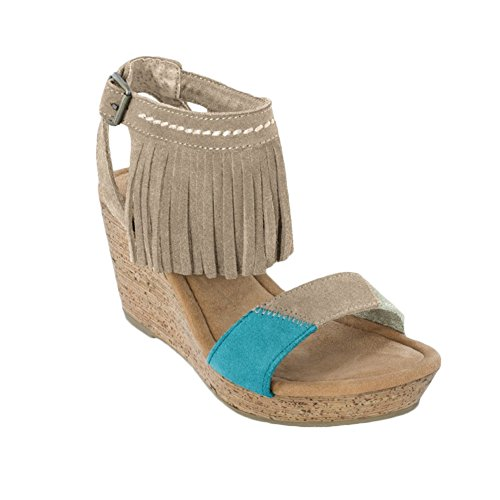 Minnetonka Women's Poppy Taupe Suede/Color Block Patches Sandal - Moccasin Wedges