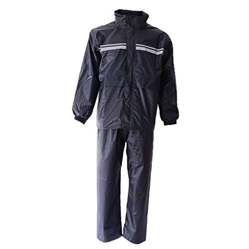 SM SunniMix Rain Jacket with Pants for Men Women Waterproof Foul Weather Gear 2-Pieces Heavy Duty Suits - Gray, XXXL
