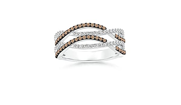 Angara s Brown Diamond Interwoven Crossover Ring in White Gold