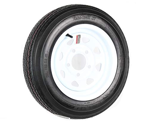 Trailer Tire On Rim 5.30-12 530-12 5.30 X 12 12 in. 5 Lug Hole White Wheel Spoke