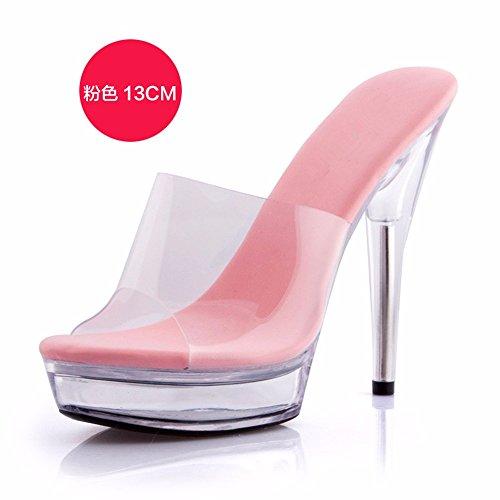 ladies sottile cool FLYRCX moda d personalità tacco alto di semplice Estate partito di scarpe sandali tacco trasparente pantofole YUf5p