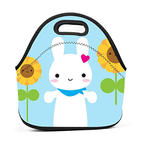 (123ZoeB Sunflower Rabbit Unisex Lunch Box Portable Bento Box Custom Rugged Snack Bag Multi-fonction Zipper Tote for Travel Office Outdoor)
