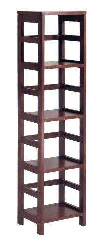 winsome wood 4shelf narrow shelving unit espresso