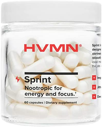 H.V.M.N. Sprint – Nootropic, Energy Pill Focus Supplement – Caffeine, L-Theanine, Panax Ginseng Supplement