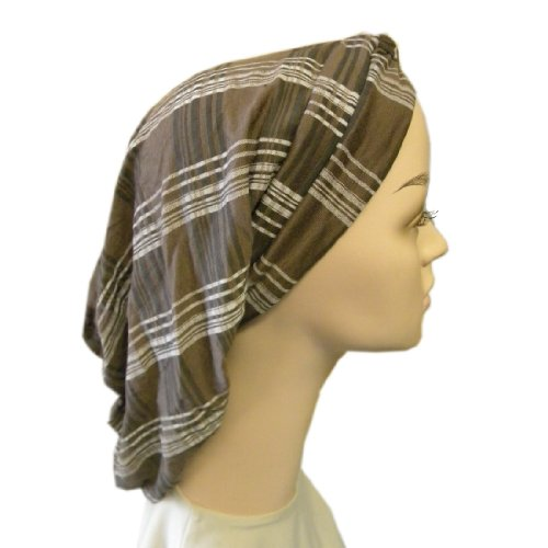 Brown Plaid Classic Turban Snood Long Head Cover with Twist Front