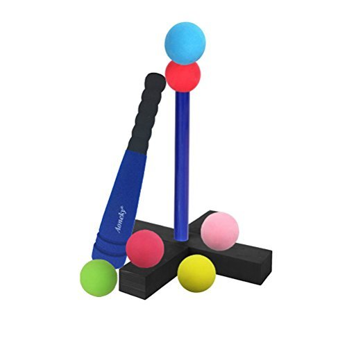 Aoneky Mini Foam Tball Set for Toddlers - Carry Bag Included - Best Baseball T Ball Toys for Kids Age 1 Years Old - Upgraded Version