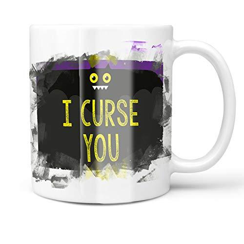 Neonblond 11oz Coffee Mug I Curse You Halloween Funny Bat with your Custom Name -