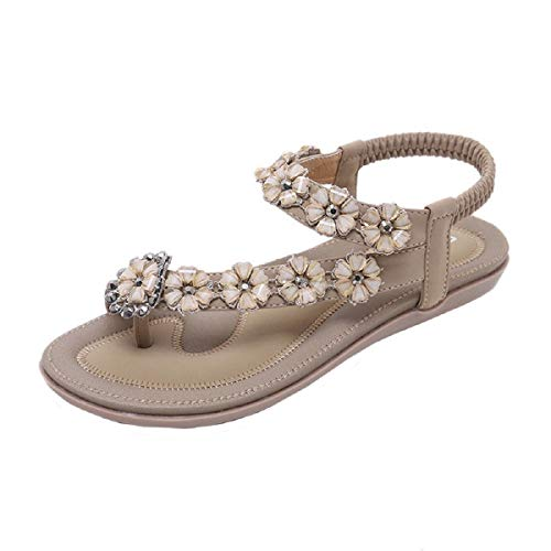 Vintage Metal Leather Thong - Tsmile Women Sandals Summer Boho Sweet Beaded Sandals Fashion Belt Buckle Hollow Out Clip Toe Sandals Beach Shoes