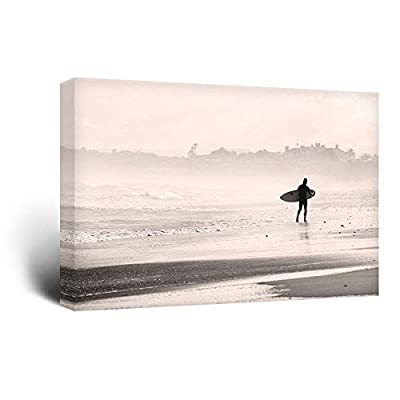 Canvas Wall Art Sports Theme - Man Walking Down The Beach a Surfing Board Under His Arms - Giclee Print Gallery Wrap Modern Home Art Ready to Hang - 32x48 inches