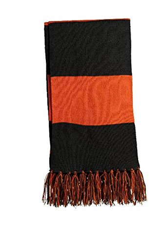 Sport-Tek Men's Spectator Scarf OSFA Black/ Deep Orange by Sport-Tek