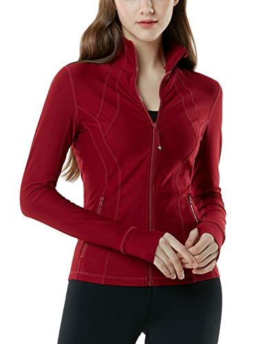 TSLA Women's Yoga Lightweight Active Performance Full-Zip Jacket, Full-Zip(fyj01) - Wine, -